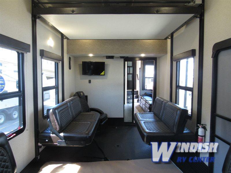 Grand Design Momentum M-Class Fifth Wheel Toy Hauler Garage Exterior