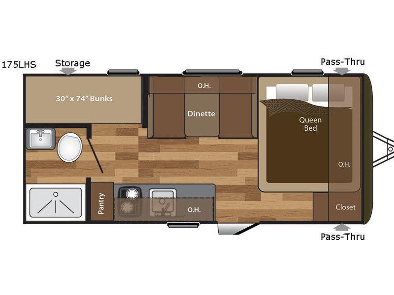 Keystone Hideout 175LHS Travel Trailer Floorplan